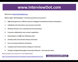 Best Resume Questions by What Is Agile Methodology Explain Its Advantages Interview