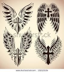 vector set cross wings elements stock vector 152115194