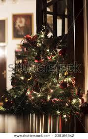 christmas tree lights reflecting glass balls stock photo 115114540