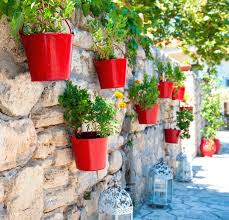 wall ideas flower pots in mijas royalty free stock photography