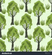 seamless pattern decorative trees stock vector 719057779