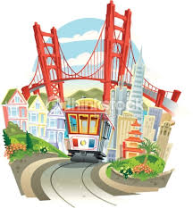 golden gate bridge with trolley vector art thinkstock