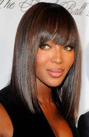 chin length hairstyles for ethnic hair sleek demi bob with straight bangs naomi cbell hair style