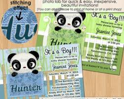 Panda Baby Shower Invitations - baby panda baby shower thank you card damask pattern