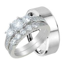 Wedding Ring Sets For Him And Her by His And Hers Wedding Rings Sterling Silver Titanium Stainless