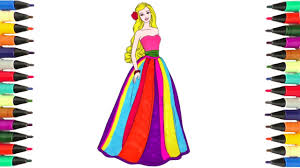 coloring pages barbie in a beautiful dress learn colors for