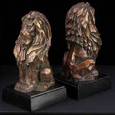 lion bookends bronzed brass golf bookends