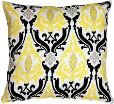 Linen Damask Print Yellow Black 18x18 Throw Pillow from Pillow Decor