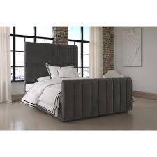 dhp dante grey upholstered bed free shipping today overstock