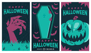 spooky halloween banner set vector download