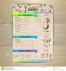 vintage cocktail vintage cocktail menu design document template stock vector