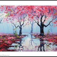 blossom trees palette knife large oil painting pink blossom trees spring river