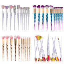 new unicorn 10pcs pro makeup brushes set contour powder eyeshadow