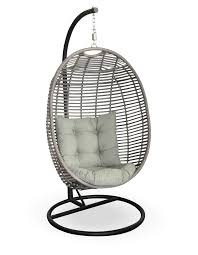 Metal Egg Chair by Grey Wicker Hanging Swing Chair In Egg Shape Completed By White