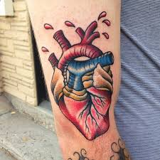 coloured american classic tattoo with wounded heart tattooimages biz