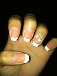 french tip with flowers on the ring finger cute nail designs