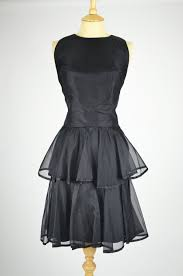 1960s vintage cocktail dress tiered black chiffon with matching