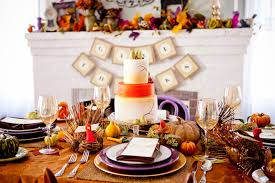 thanksgiving tablescape with touches of purple and gold