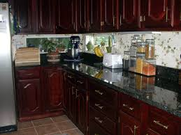 granite countertop kitchen cabinet without doors tile accents