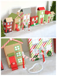 cute recycled village made from old cereal boxes christmas