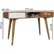 Schreibtisch 60 Cm Breit Wohnling Schreibtisch Repa Weiß 120 X 60 X 75 Cm Massiv Holz
