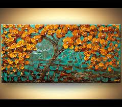 landscape painting orange blooming tree on turquoise background