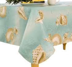 Outdoor Tablecloths For Umbrella Tables by Amazon Com Elrene Home Fashions 37770mlt Seashell Outdoor Flannel