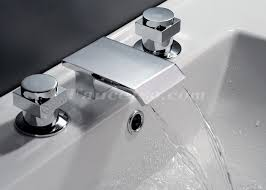 Contemporary Waterfall Bathroom Sink Faucet Chrome Finish Stylish Bathroom Fixtures Wholesale