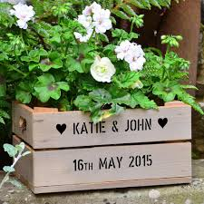 small personalised wooden apple crate planter gift