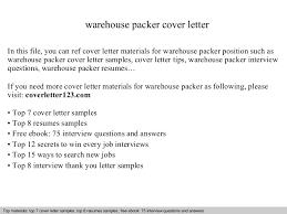 Packer Resume Sample by Warehouse Packer Cover Letter