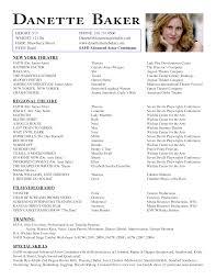Sample Of Acting Resume by Danette Baker Acting Resume