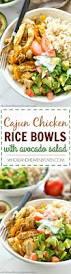 cajun thanksgiving cajun chicken rice bowls with avocado salad