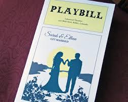 playbill wedding program theatre wedding program etsy