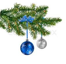two satin glass balls hanging on green tree branch