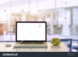 Office Table Front View Front View Cup Laptop On Table Stock Photo 358339781 Shutterstock