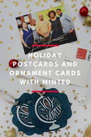 postcards and ornament cards with minted revel and glitter