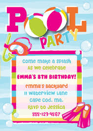 Invitation Card For Pool Party Birthday Pool Party Invitations Haskovo Me