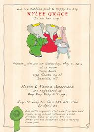 Baby Shower Invitations Bring A Book Instead Of Card Babar Baby Shower Invitation Baby Shower Pinterest Shower