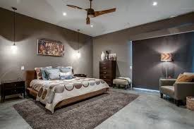 Master Bedroom Lights Modern Master Bedroom Using Grey Wall Colors And Illuminated With