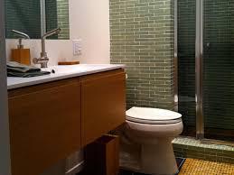 red white stripped pattern carpet mid century modern bathroom