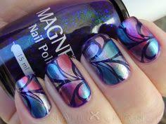 subtle multichrome galaxy water marble water marbling nail art