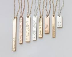 bar necklace personalized personalized bar necklace etsy