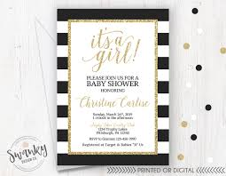 black and gold baby shower invitations black white striped