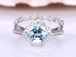 aquamarine wedding ring set 7mm cushion cut aquamarine engagement