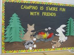 fall camping bulletin board i used tissue paper to make the