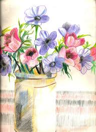 Pencil Sketch Of Flower Vase Sketching And Painting Spreading Colours