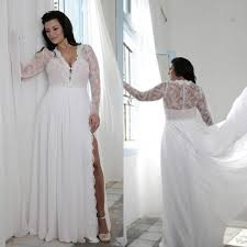 cheap plus size wedding dress plus size wedding dresses with split sheath plunging v neck