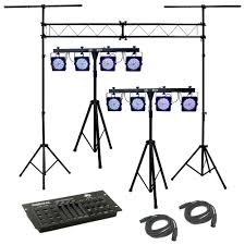 dj lighting truss package 2 4bar complete stage led chauvet light package with 2 dmx cables