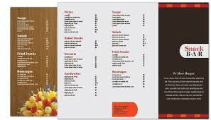 snack bar menu template tri fold brochure template for snack bar cafe deli restaurant