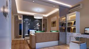 Kitchen Livingroom Living Room Interior Design With Transparent Glass Partition